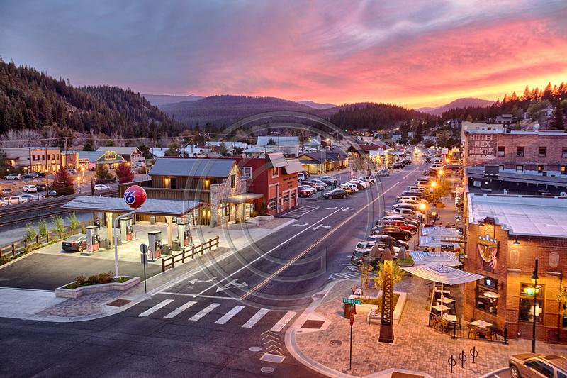 Downtown, Truckee, Sunset