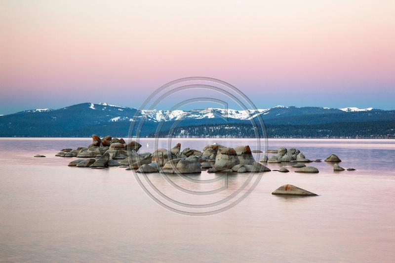 Lake Tahoe, Rocks, Sunrise